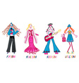 4 girls Pop star Movie star Rock star and Little vector image vector image