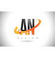 an a n letter logo with fire flames design and vector image vector image