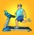 an elderly fat man treadmill sports equipment for vector image