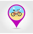 Bicycle pin map icon Summer Vacation vector image vector image