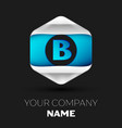 blue letter b logo in the silver-blue hexagonal vector image