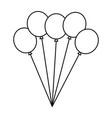 bunch balloons decoration festive thin line image vector image vector image