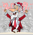cartoon happy santa claus jumped up and rejoices vector image vector image