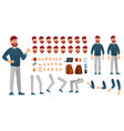 cartoon male character kit man in casual clothing vector image