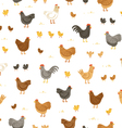 Chickens and chicks seamless pattern vector image