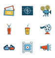 cinema theater icons set cartoon style vector image vector image