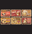 coffee cup and bean vintage metal banners vector image vector image