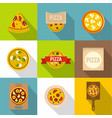 cooking a pizza icons set flat style vector image