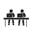 coworking working at laptops black concept vector image
