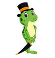 cute frog cartoon holding umbrella vector image