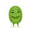cute suspicious cactus standing with folded hands vector image vector image