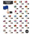european union set eu flag and membership vector image vector image
