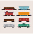 flat design freight cars bundle including vector image