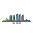 flat line san diego banner vector image vector image