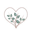 Fresh Green Leaves in Heart Shape Wreath vector image vector image