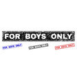 grunge for boys only scratched rectangle stamps vector image vector image
