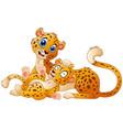 happy adult cheetah with cub cheetah vector image