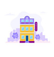 hotel building with city background concept vector image