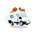 ice-cream van driven by a friendly icecream man vector image