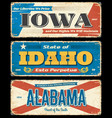 iowa idaho and alabama states metal plates vector image