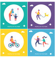 kids play and walk in park cartoon banner set vector image