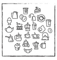 linear icons for cafe menu with tea and coffee vector image