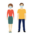 man and woman with medical masks isolated white vector image vector image