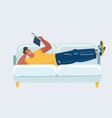 man lay on sofa with book vector image vector image