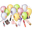 mirror balloons with cosmetics vector image