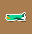 paper sticker on stylish background toy airplane vector image vector image