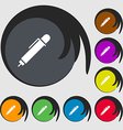 pen icon sign Symbols on eight colored buttons vector image