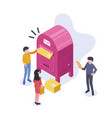 people stand near a large mailbox and send letters vector image vector image