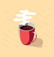 red cup coffee with steam cartoon outlined vector image