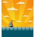 Say Hello to Summer retro of a boat and wavy sea vector image