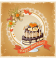 scrapbooking birthday card with cake tier and text vector image vector image