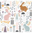 seamless pattern with bunny floral elements vector image