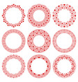 set round circle frames with red hearts vector image vector image