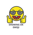 showing ok emoji line icon sign vector image