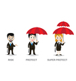 Three of business man and woman holding umbrella vector image