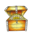 treasure chest filled golden coins color vector image vector image