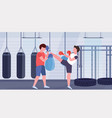 two boxers training kick boxing exercises fighters vector image