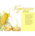 Vegetarian menu with watercolor vegetables vector image