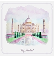 Watercolor Taj Mahal picture Greeting card vector image vector image