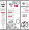 Wine Menu Set vector image