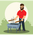 young cheerful man cooking shashlik barbecue grill vector image