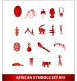 african symbols set red color isolated vector image