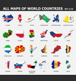 all maps world countries and flags set 2 of vector image