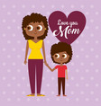 black woman mother and son love mom card dotted vector image