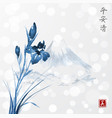 blue iris flowers and fujiyama mountains hand vector image