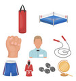 boxing set icons in cartoon style big collection vector image vector image